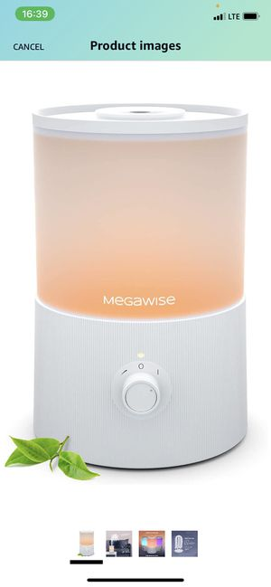 MEGAWISE Humidifiers for Bedroom, 3.5L Ultrasonic Cool Mist Humidifier Diffuser with 7-Color Night Lights, 24dB Ultra Quiet, Up to 35h Run Time, Top- for Sale in Staten Island, NY