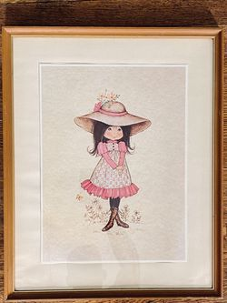 Vintage 70's Girl With Flowers, Big Hat, And Pink Dress for Sale in Portland,  OR