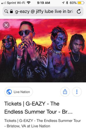 G eazy - Endless Summer Tour @ jiffy lube bristow VA for Sale in Oakton, VA