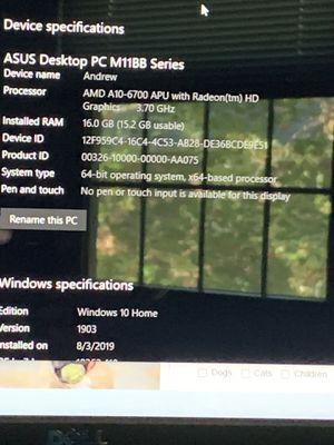 Asus Desktop Computer Model M11BB A for Sale in West Springfield, VA