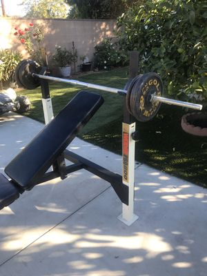 bench press with standard size bar and weights for Sale in Los Angeles, CA