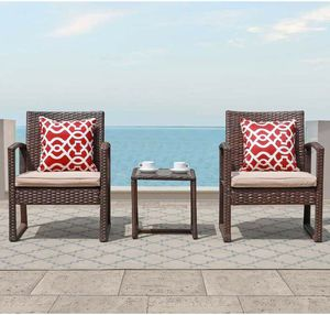 3 Pieces Outdoor Patio Furniture Modern Bistro Set (Brown) for Sale in Hillsborough, CA