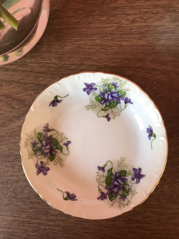 Vintage Midcentury Fine China From Japan - Violet Pattern - Creamer, Sugar Bowl, 3 Dessert Plates