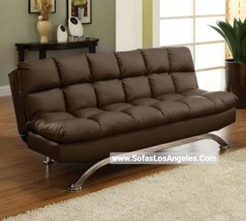 REAL SHOWROOM 😁 WE FINANCE - DARK BROWN PILLOW TOP COUCH SOFA FUTON SOFA BED for Sale in Los Angeles,  CA