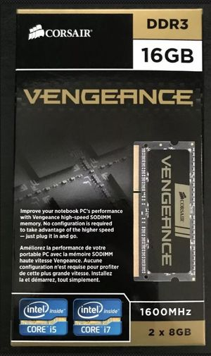 Corsair Vengeance 16GB (2 x 8GB) PC3-12800 (DDR3-1600) Laptop Memory for Sale in Denver, CO