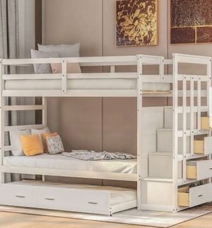 New!! Bed, twin bed, twin bunk bed, solid wood twin bunk bed w trundle,twin over twin bunk bed, bedroom furniture , white for Sale in Phoenix, AZ