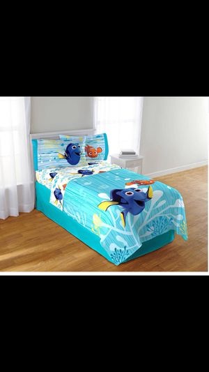 New twin bed with new mattress and organization with 6 box fish 🐠 bed get . bidding set with 2 fish 🐠 panels for girls or boys everything still new for Sale in Cambridge, MA