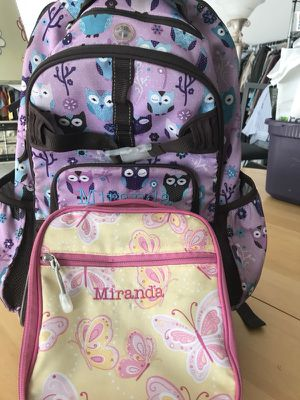 Pottery Barn Backpack and Lunchbox for a girl named Miranda for Sale in Downers Grove, IL