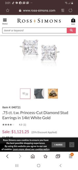 Diamond double stud ears for Sale in Denver, CO