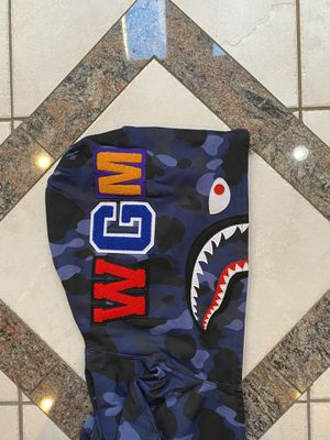 BAPE BLUE CAMO SHARK HOODIE SZ(L) for Sale in Plano, TX