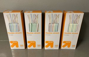 4 Boxes Flexible Color Stripe Plastic Drinking Straws for Sale in San Diego, CA
