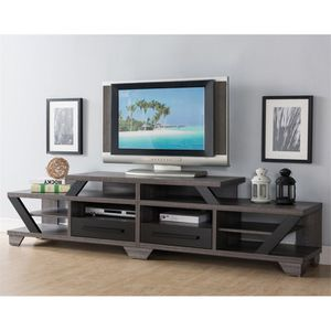 "Furniture of America Dixon 82"" TV Stand in Gray and Black for Sale in Fort Washington, MD"