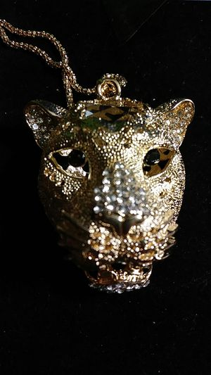 Betsey Johnson gold Crystal panther head for Sale in Fresno, CA
