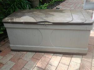 Suncast weatherproof Plastic storage bin locker shed chest trunk pool deck patio or porch outdoor furniture for Sale in Pompano Beach, FL