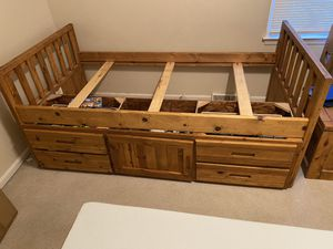 Oak Twin bed w Storage and twin mattress. for Sale in Lexington, KY
