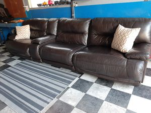 Gorgeous double recliner sectional couch Italian leather for Sale in Renton, WA