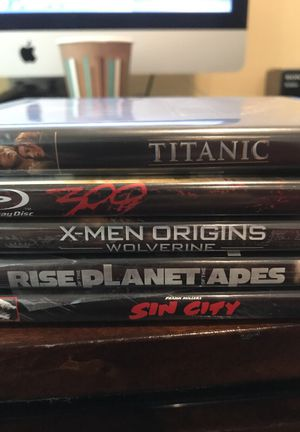 5 blue ray movies - titanic, 300, X men, Sin City and Planet of apes for Sale in Arlington, VA
