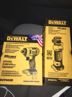 2 brand new DeWalt 20v Max drywall cut out and 20v impact driver for Sale in Chandler, AZ