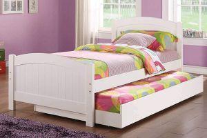 WHITE FINISH TWIN SIZE BED + TRUNDLE / CAMA SENCILLAS BLANCO for Sale in Riverside, CA