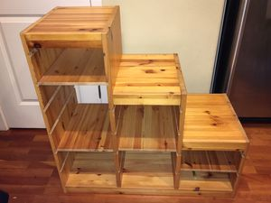 Solid Wood 3 Step Bookshelf / Storage Cubby With Adjustable Shelves. for Sale in Hillsboro, OR