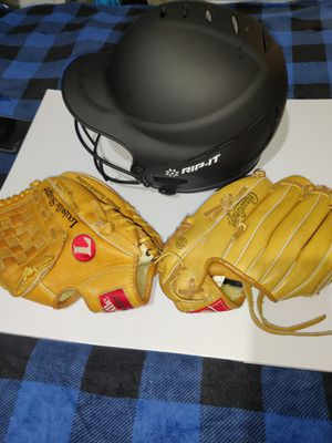 Rawlings & Louisville gloves with Rip It Helmet for Sale in Cornelius, OR