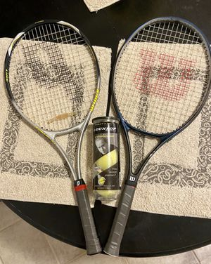 1 Prince & 1 Wilson Tennis Rackets (w/ new grips & 1 unopened can of Tennis balls) for Sale in Glendale, AZ