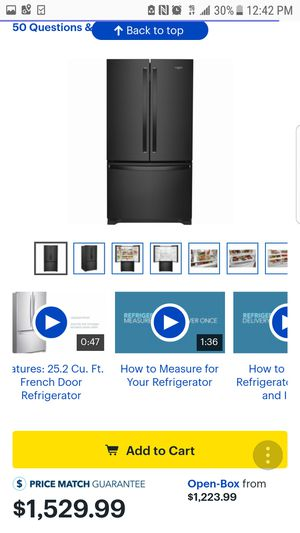 Whirlpool - 25.2 Cu. Ft. French Door Refrigerator with Internal Water Dispenser - Black Model:WRF535SWHB for Sale in Garland, TX