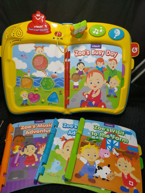 V tech touch and learn story time & 4 books