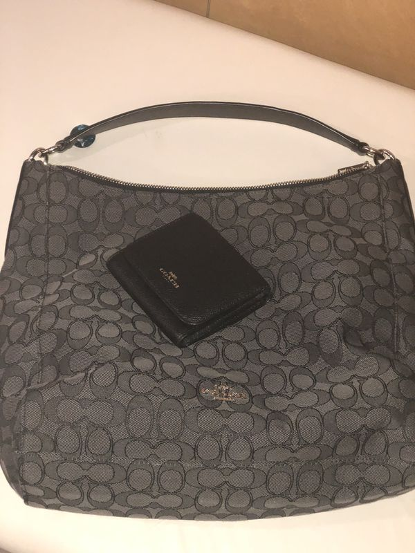 Coach large black and gray hobo bag with wallet