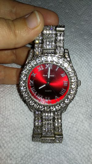 Silver Watch with Red Face - ICED OUT for Sale in Indian Shores, FL