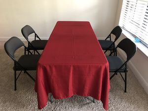 50% discount Walmart dining table set (table and 4 cushion chair) for Sale in Houston, TX