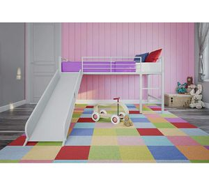 White Twin Metal Loft Bed with Slide for Kids for Sale in ROWLAND HGHTS, CA