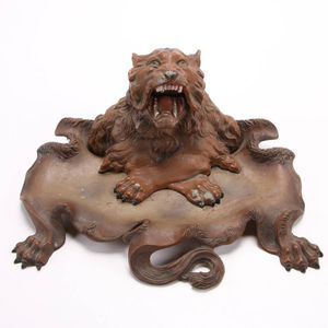 Stunning Large Victorian Metal Figural Lion Desk Tray with Inkwell for Sale in Lakewood, CO