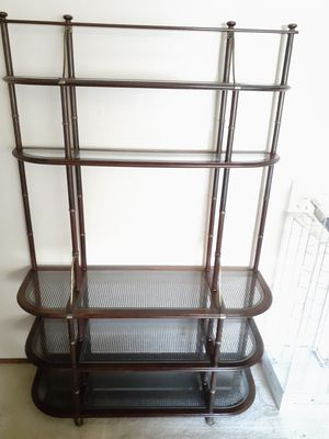 Wall shelf unit wood / glass for Sale in San Jose, CA