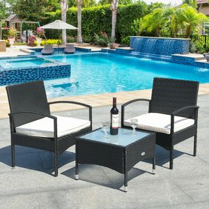 3pc Patio Table & Chairs Wicker Furniture Outdoor Black Rattan Sofa Garden Conversation Backyard Set White Cushioned Seats Set by the Swimming Pool for Sale in Glenbrook, NV
