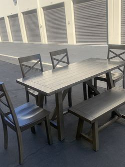 Beautiful Rustic Gray Kitchen Table With 4 Chairs And A Bench for Sale in Bellflower,  CA