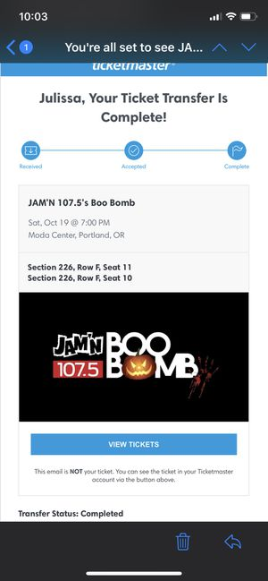 Boo Bomb Tickets for TOMORROW 10/19 for Sale in Glenwood, OR