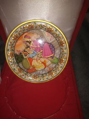 Gold Leaf work on Marble decorative plate hand painted in India gold leaf work on marble for Sale in NC, US