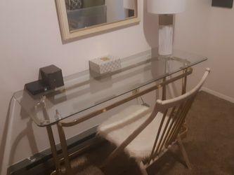 Pretty, Glass & Gold Table for Sale in Tacoma,  WA