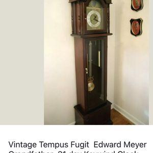 Vintage Tempus Fugit Edward Meyer Grandfather 31 day Keywind Clock for Sale in Spring, TX