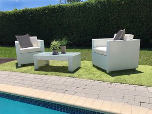 Modern Designer Patio Furniture - White PE Wicker Rattan Chairs and Coffee Table for Sale in Miami Shores, FL