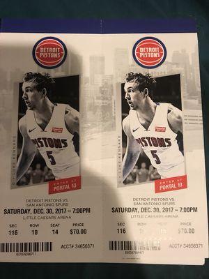 Detroit Pistons vs San Antonio Spurs Saturday 12/30 for Sale in Detroit, MI