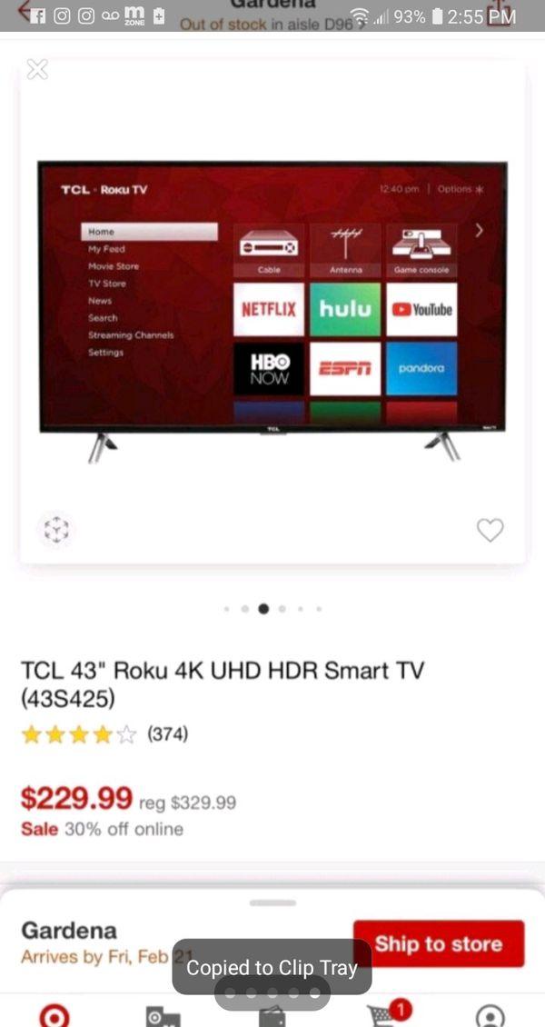 Tcl Smart tv (Roku/Netflix) 43' inch