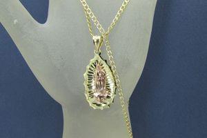 2 Tone Diamond Cut 14k Gold Virgin Mary Pendant & Chain for Sale in Los Angeles, CA