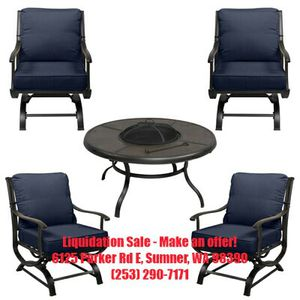 Lot 138, New Hampton Bay Redwood Valley 5-Piece Metal Patio Fire Pit table chairs Seating Set with Cushions Included in midnight color patio furniture for Sale in Sumner, WA