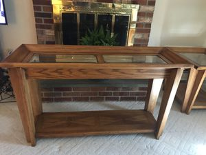 Wood/Glass Living Room Table Set for Sale in Riverview, FL