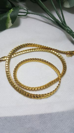 "Fashion 18K Gold Plated Flat Cuban Chain 5mm Women Men Jewelry 20"" in long Chain for Sale in Queens, NY"