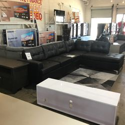 Beautiful Black Leather Sectional! Take It Hom Today!! Only $49 Down!!! for Sale in Dallas,  TX