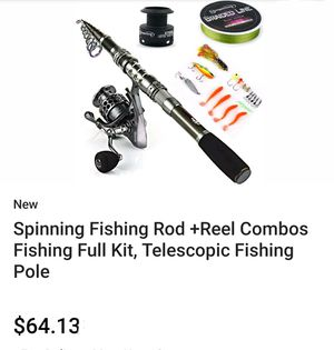 Spinning Fishing Rod+Reel Combos Fishing Full Kit Telescopic Fishing Pole for Sale in South Gate, CA