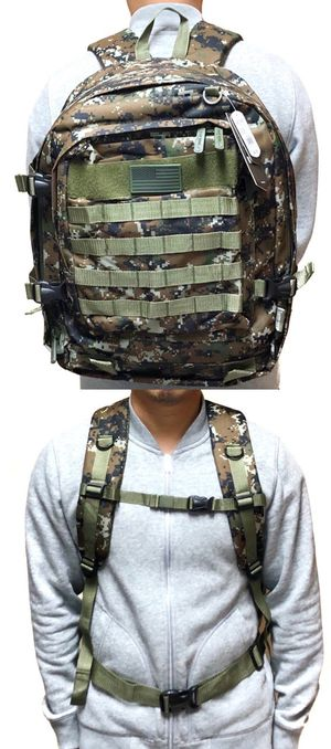 Brand NEW! Large Green Digital Tactical Molle Backpack For Traveling/Everyday Use/Work/Outdoors/Hiking/Camping/Biking $20 for Sale in Carson, CA
